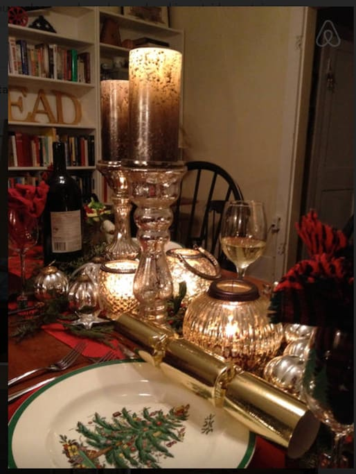 Our dining room set for Christmas