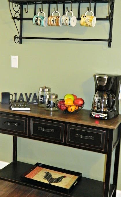 Coffee Station. Wake up to the smell of fresh coffee and start your morning with some fresh fruit.