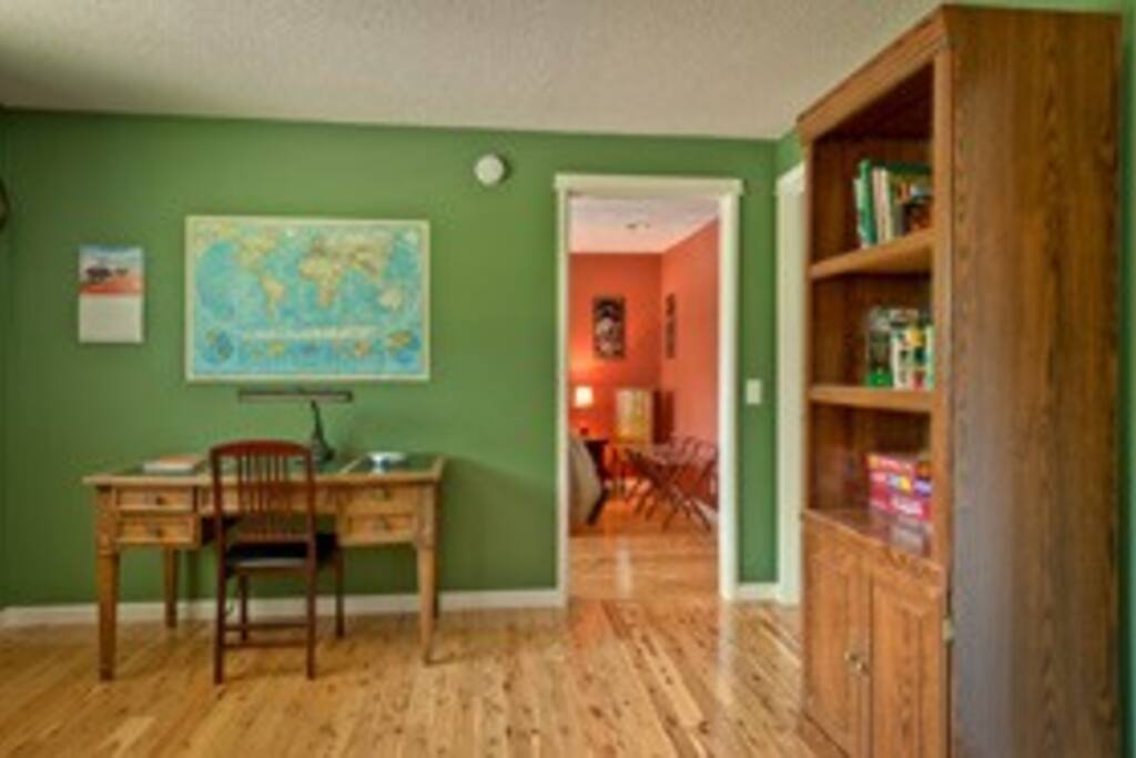 Living room into study.