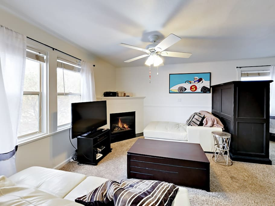 After skiing or exploring, come home to your cozy accommodations and get a fire going in the gas fireplace.