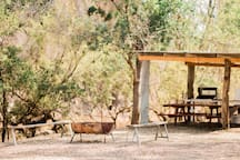BBQ and open fire pit in gorge area