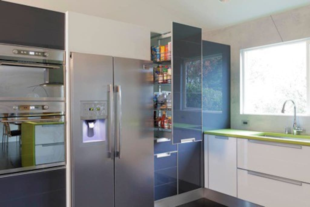 Main kitchen area.  This photo shows are sliding pantry.