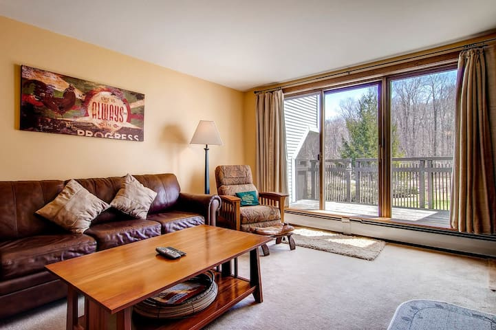 The living room w/ sliding glass door to the ski trail!