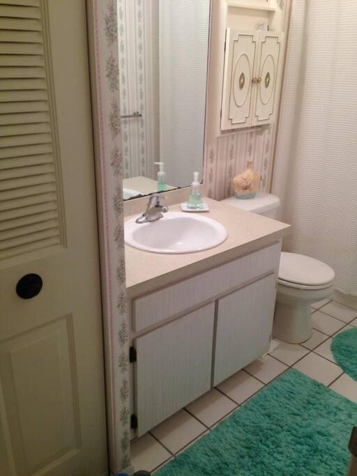 Full bathroom with bathtub and shower
