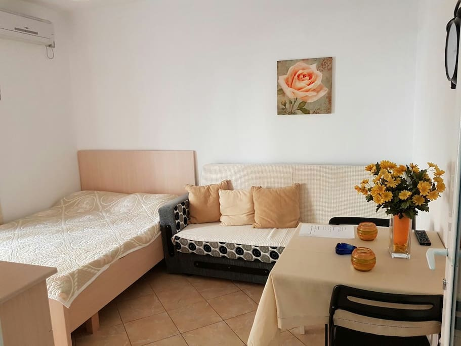 Room with air condition, double bed, sofa bed and dining table