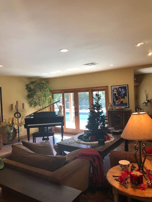 Living Room w/piano & pool view