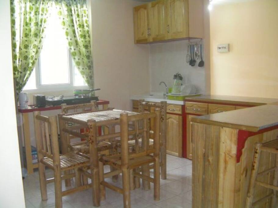Solid timber kitchen  with bamboo furniture