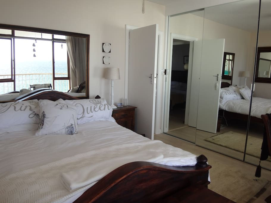 Egyptian cotton bedding with views of the sea from the main bedroom