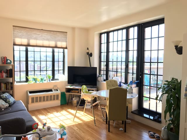 Sunny two bed Brooklyn apt with gorgeous terrace