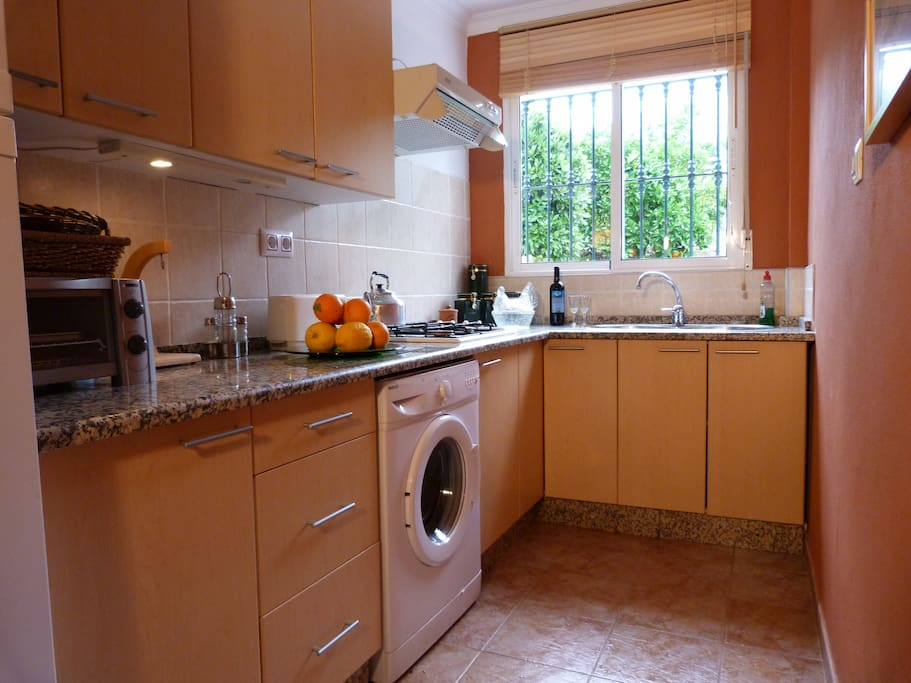 Separate well equipped kitchen.
