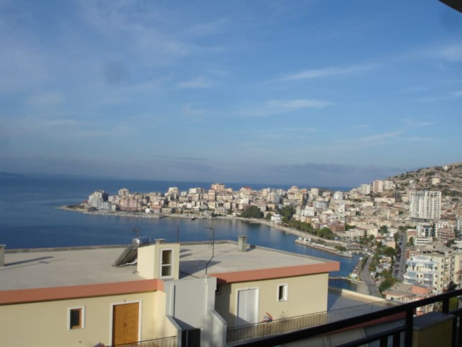 view from the bedroom terrace on Saranda port, town beaches and promenade
