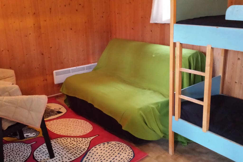Inside the Cabin (all Studio Cabins are same), the two single bunked beds, double sleeper sofa and lounge/dining chairs