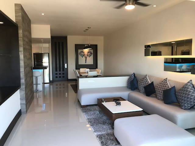 The beautiful, newly remodeled modern living area.