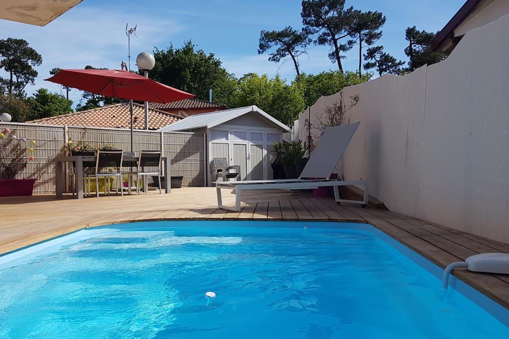 Terrasse en bois Alarme piscine