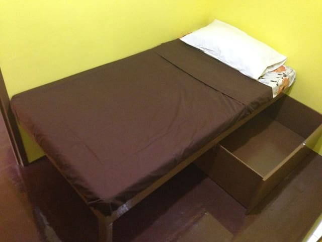 Single bed with foam with big pull out drawer
