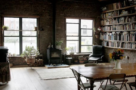 Carriage House Loft with Fireplace - Brooklyn