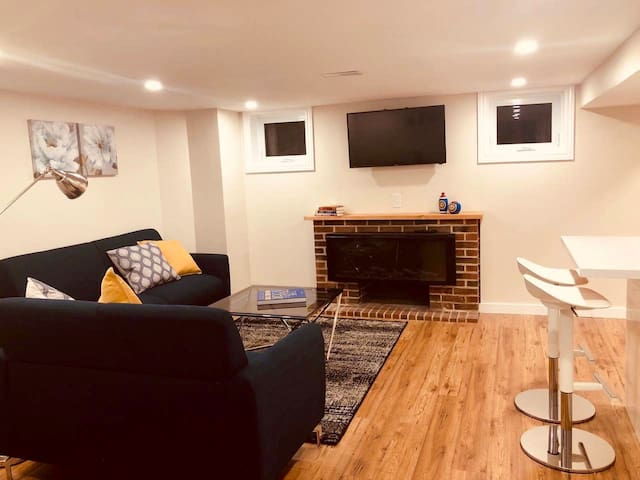 Stylish living room with a fireplace and flat screen smart TV