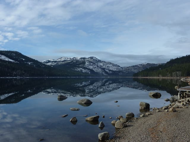 Looking towards Donner Summit and Sugar bowl from lakeshore in front of house