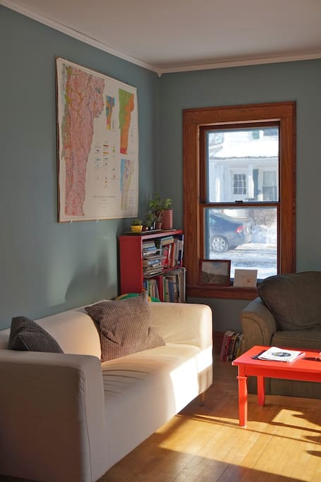 Cozy living room with lots of reading material!