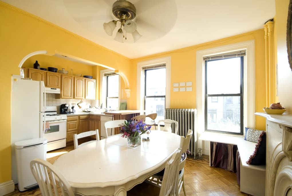 this is the kitchen-slash-dining room. One of two big common spaces available for your use.