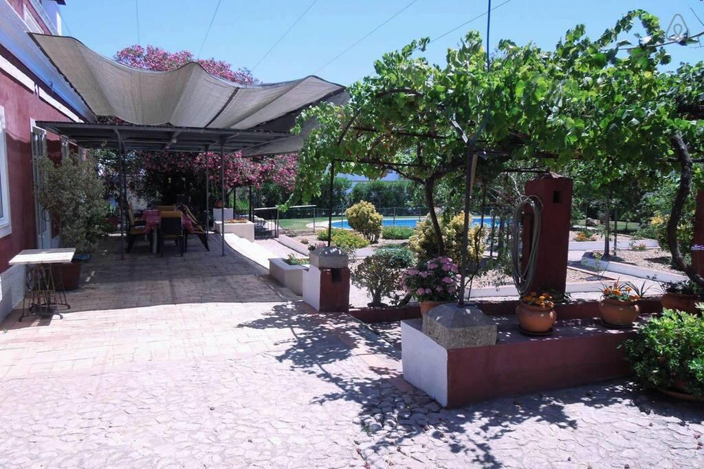 Terraço virado a sul com vista para a piscina e jardim