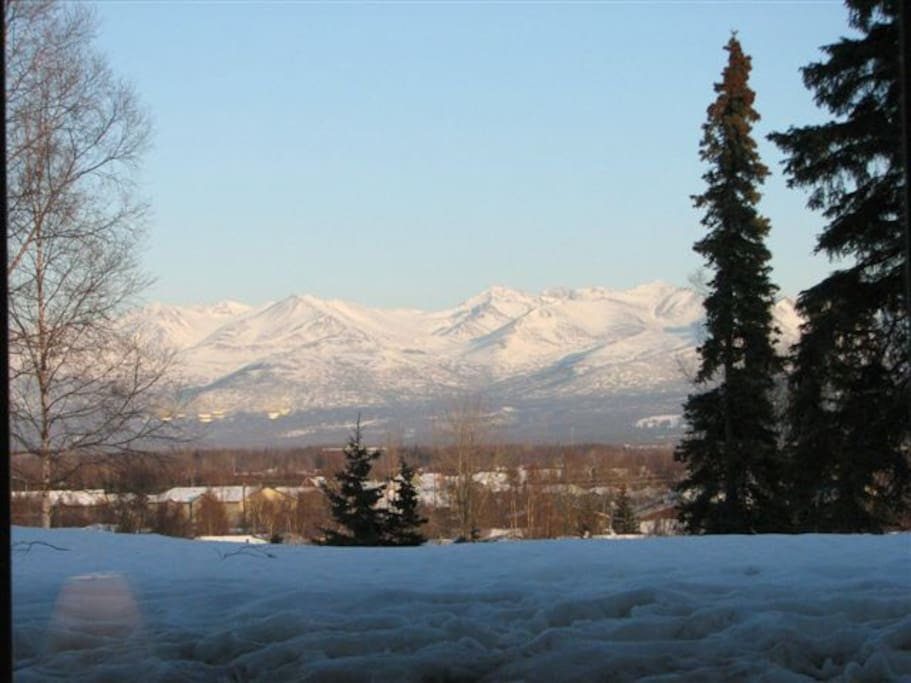 From the private balcony, looking out on the backyard area.  Wow, the mountain views from here!