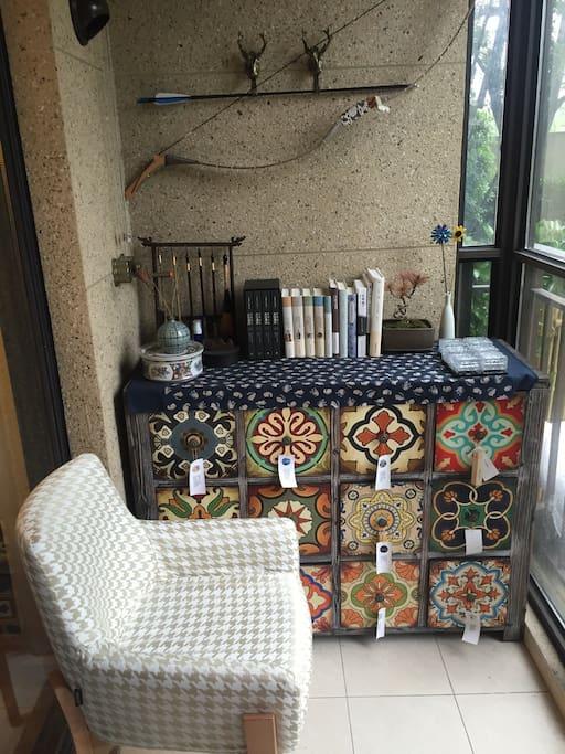 Reading area in balcony