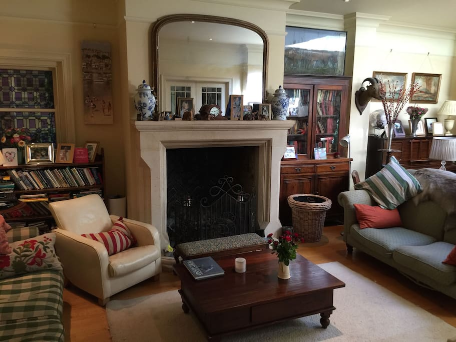 Real log fire place in sitting room