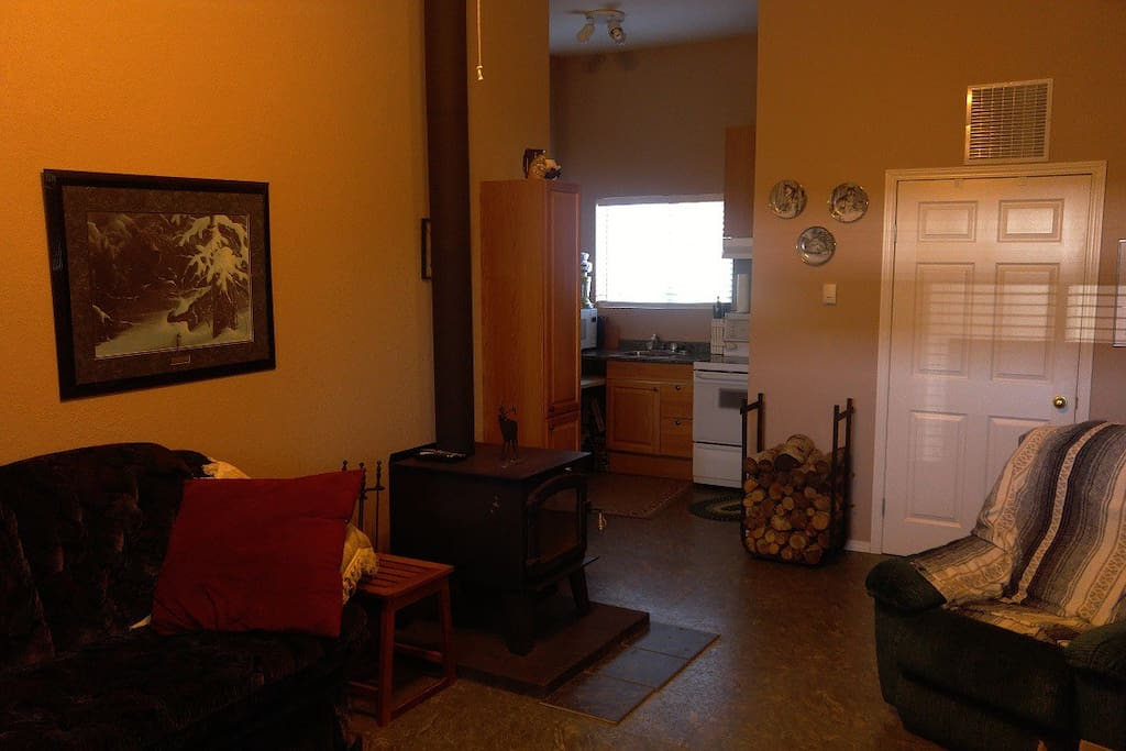 View from front door.  Living space with wood stove