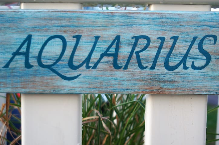 Aquarius - our seaside home with host-made name plaque to welcome you
