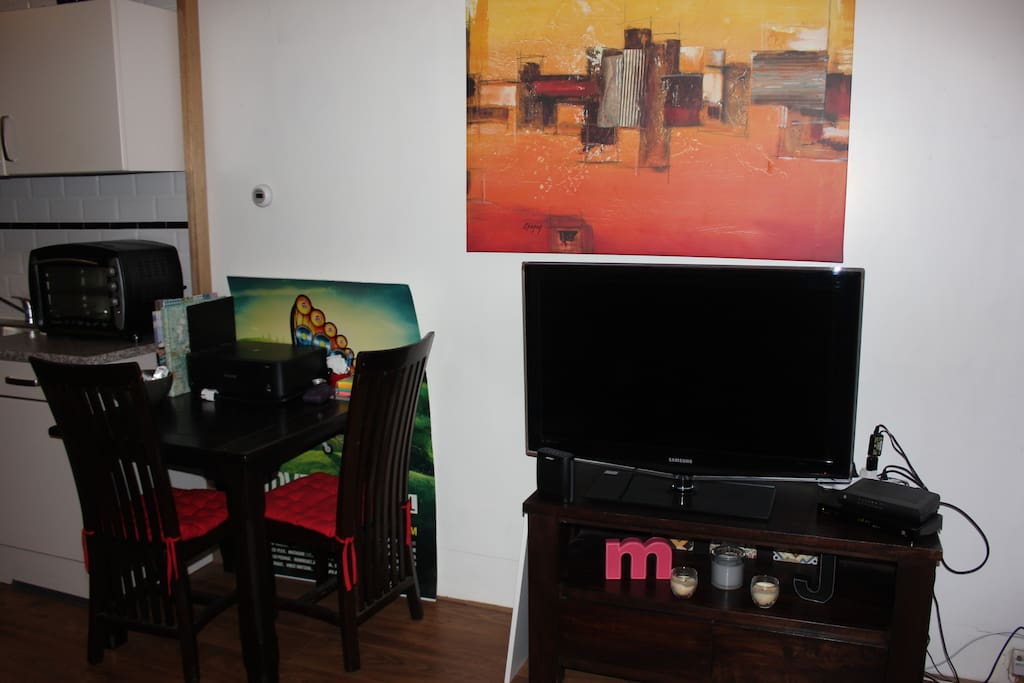 Large TV, with cable and WIFI