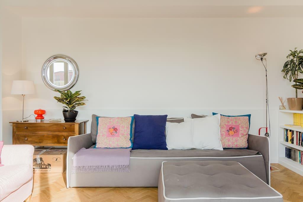 Soggiorno con due divano letti singoli