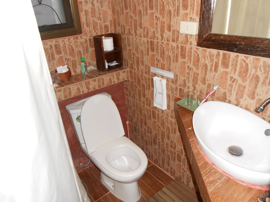 Nice, clean , modern toilet.