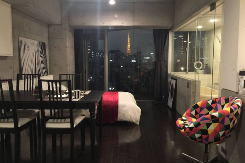 Hotel like stylish designer's apartment with Tokyo tower view