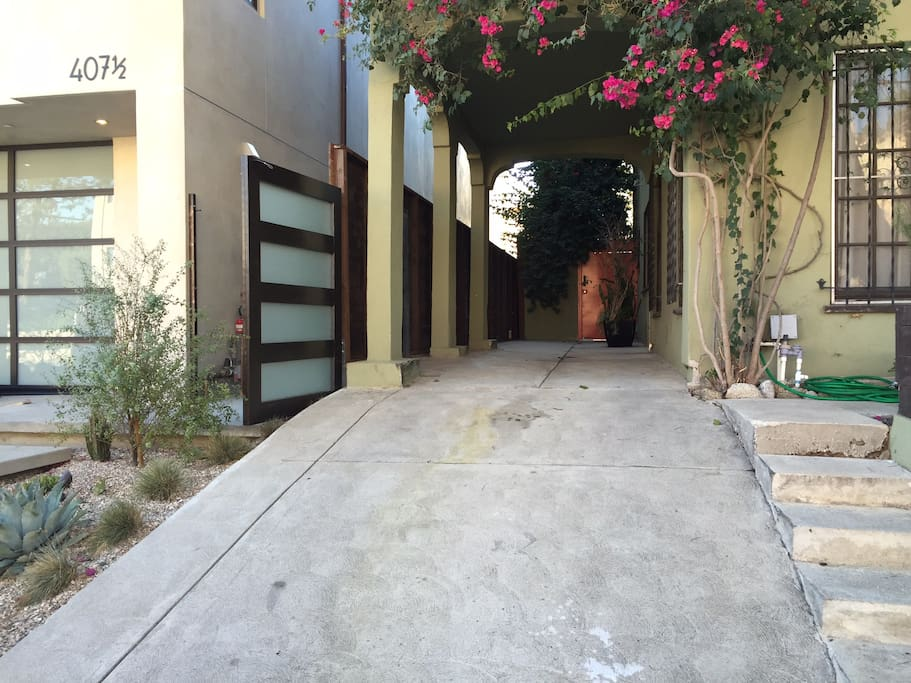driveway to the orange door
