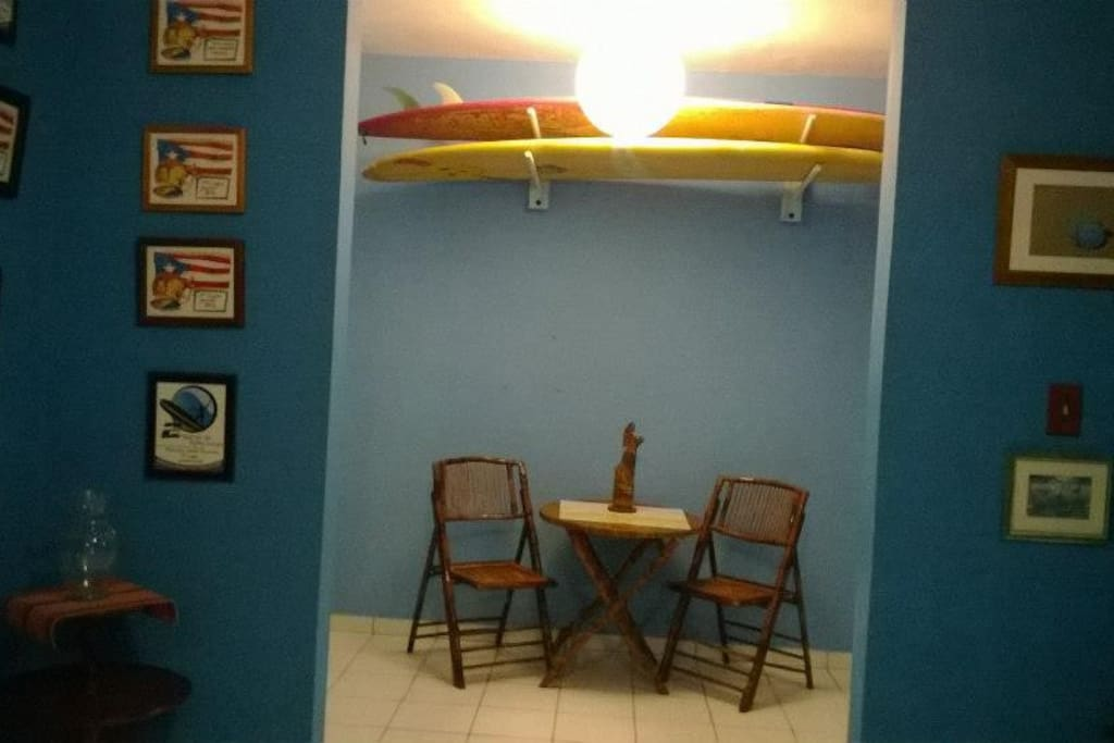 surf boards available upon request. Studio decorations enhance a great vibe.