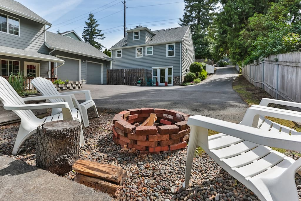 Off street parking area and fire pit