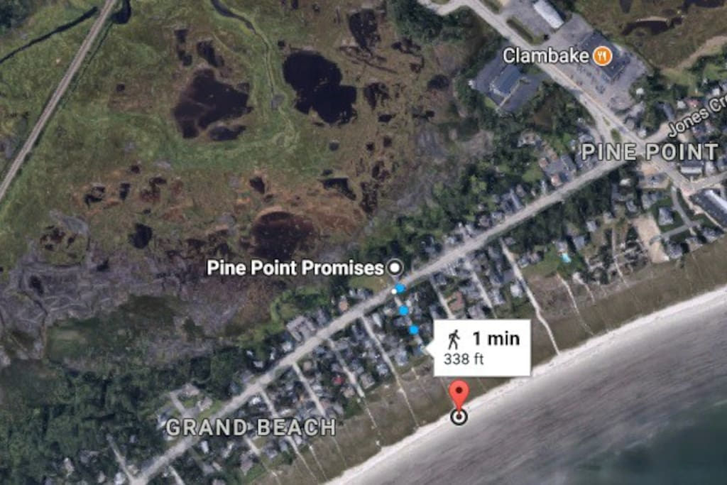Confirmed by Google Maps!  They say it is even shorter, but we think it is a bit longer than that, it all depends how eager you are to get to the beach!