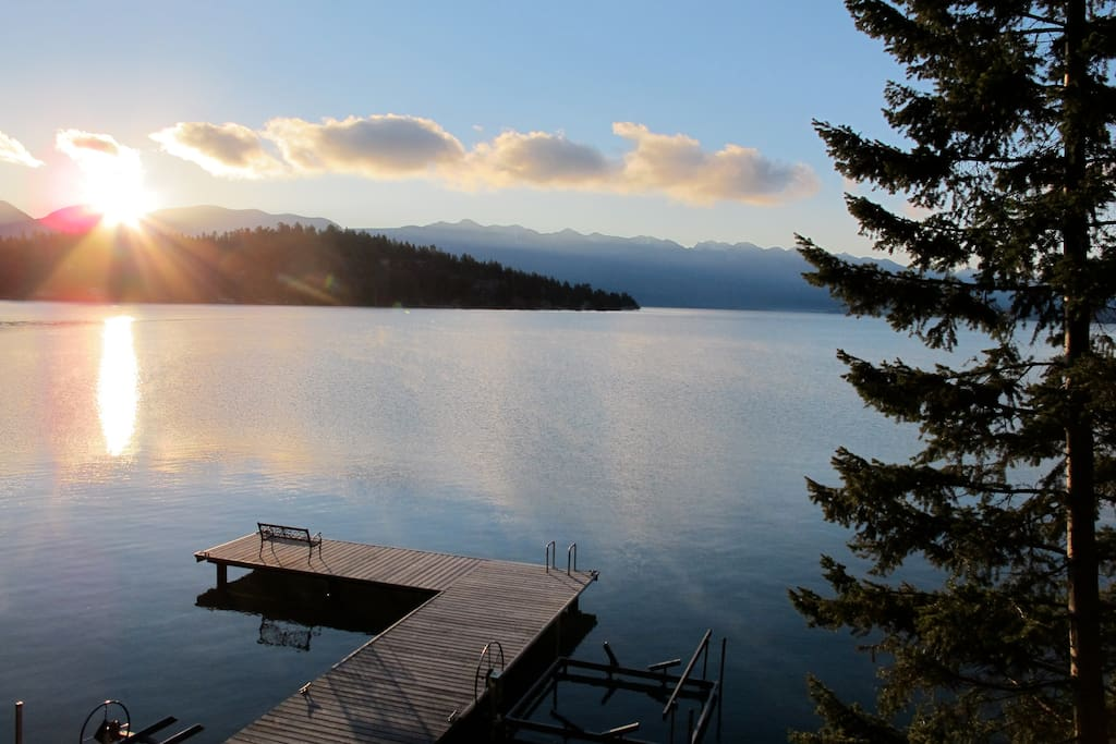 View of the dock from the Cabin at sunrise.
