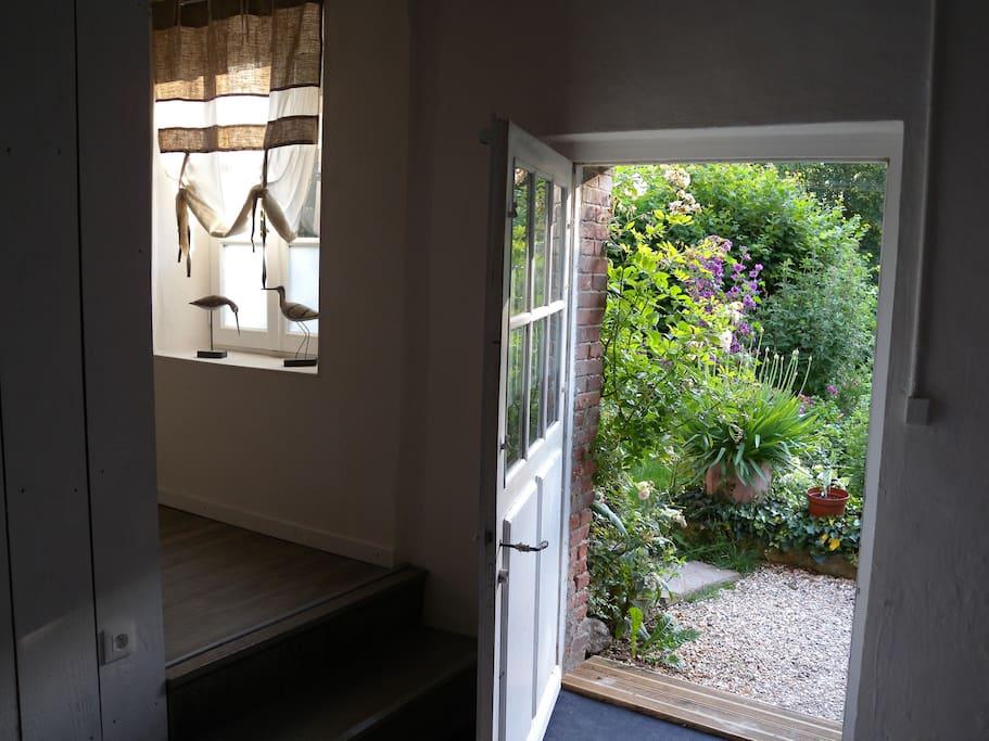 vue sur le jardin depuis la chambre