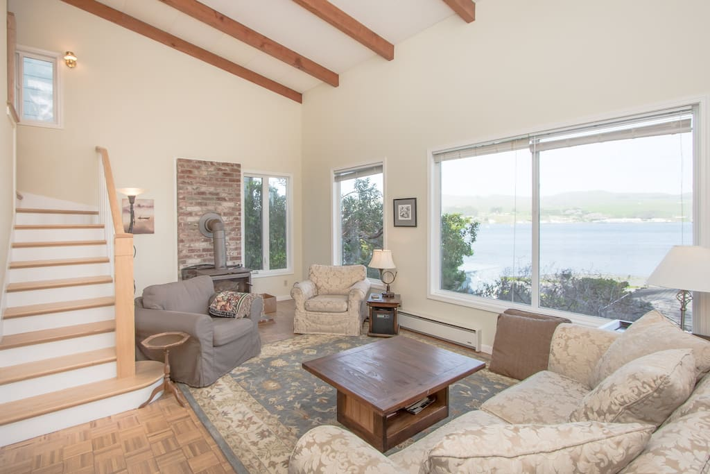 The living room with a water view