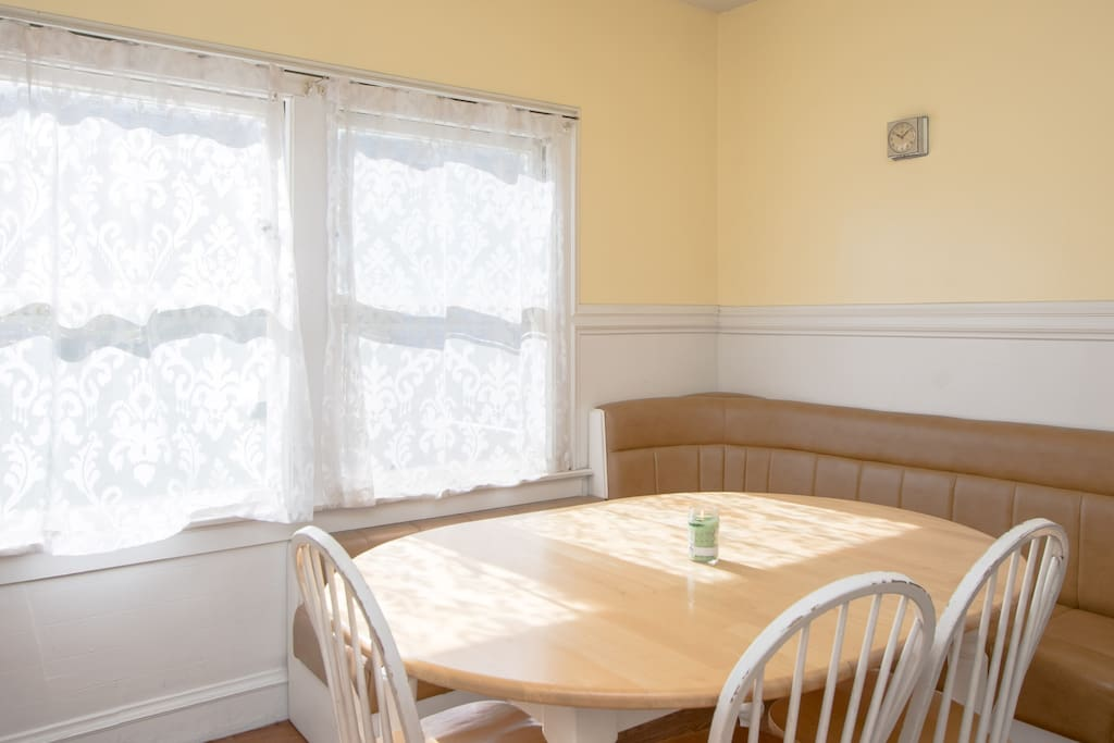 This is the dining room and common area.  Read a book, work on your laptop, or just enjoy a cup of coffee as the morning sun comes through the window!