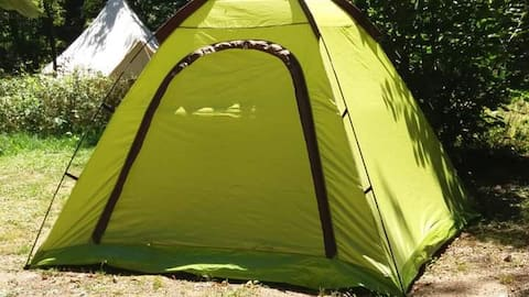 Pre erected tent with sleeping facilities