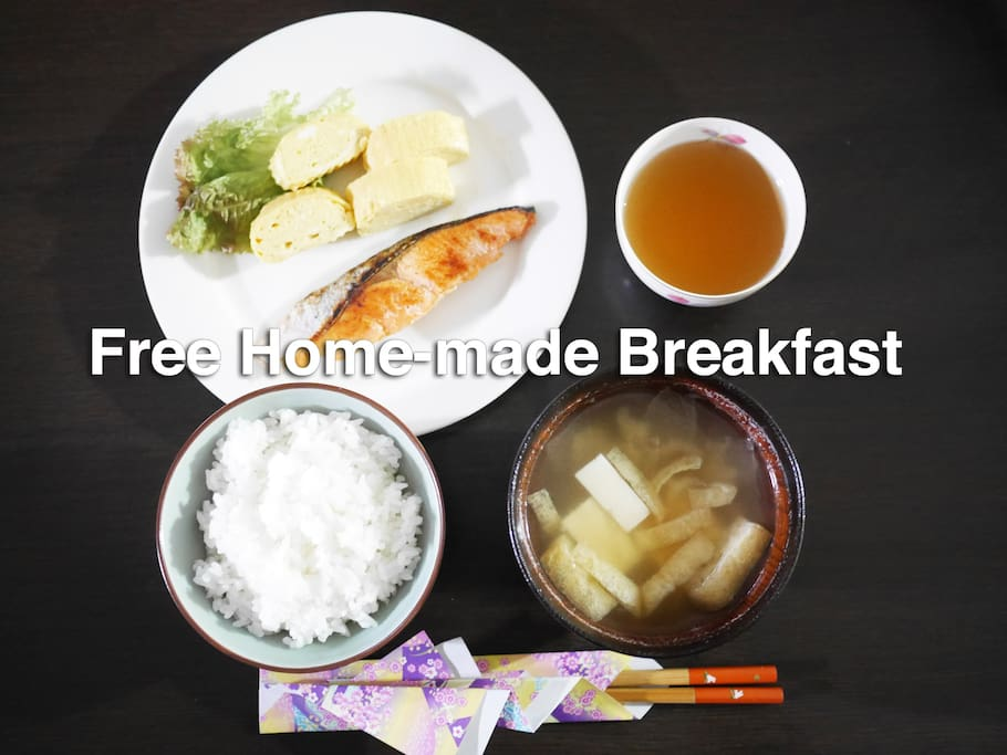 Free Breakfast! Oka-san(mom) cooks your breakfast with her whole heart.