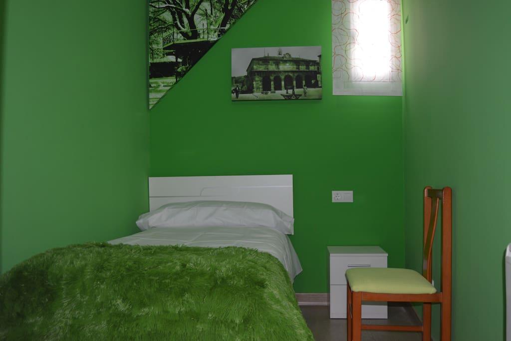 Habitación individual verde con fotos del Palacio de la Audiencia y el Árbol de la Música