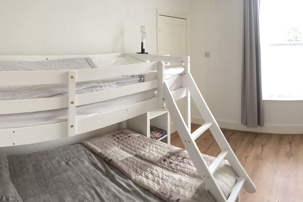 A double bed for the lower bunk and a single upper bunk.