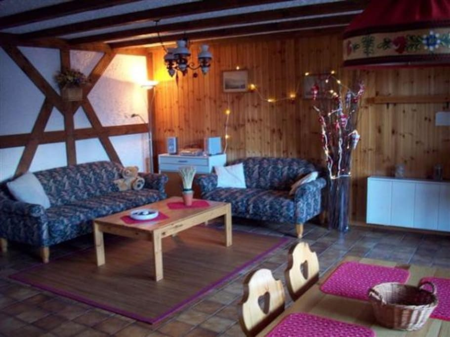 Cosy open living room with flat screen Sony SAT TV