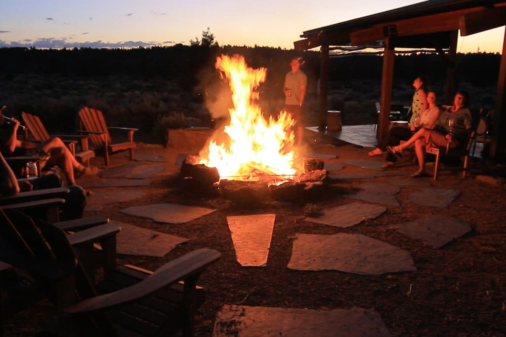 Common area fire pit and dining pavilion