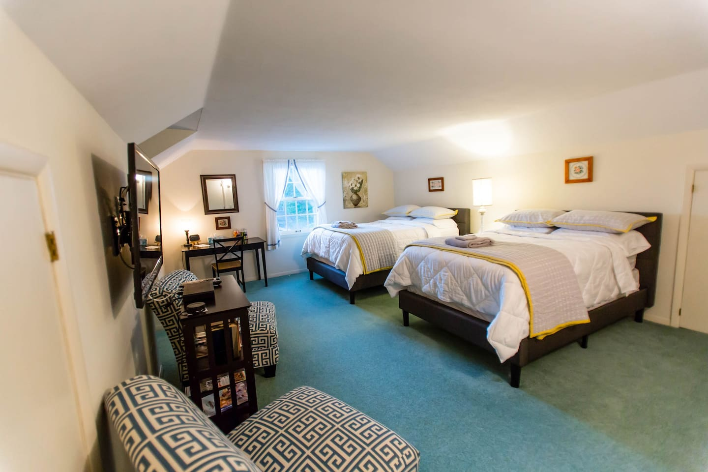 Large room with Queen and Full bed with luxurious pillow-top mattresses. Guests rave about the comfort here!