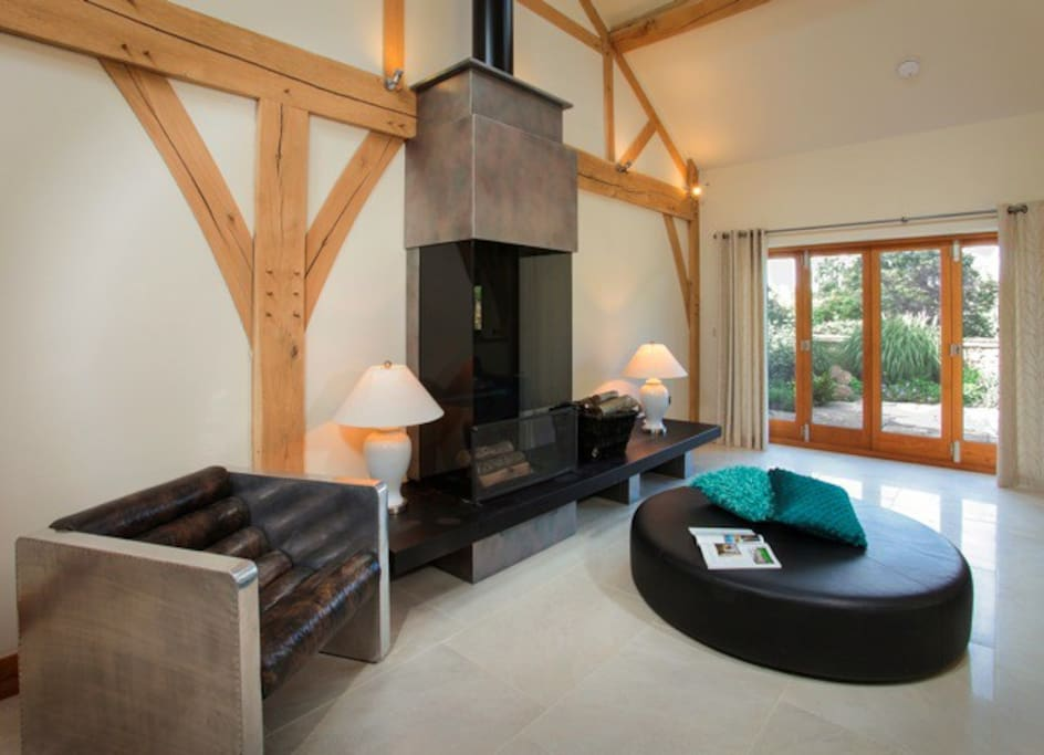 Lounge area with bespoke wood burning fire